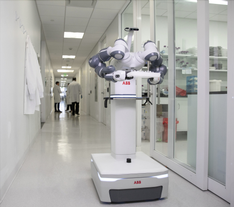 ABB's mobile and autonomous YuMi® laboratory robot concept will be designed to work alongside medical staff and lab workers. (Photo: Business Wire)