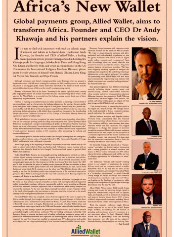 Allied Wallet Featured in Financial Times for New Contributions in Africa (Photo: Business Wire)