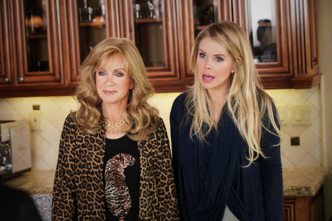 "Donna Mills (l) and Crystal Hunt (r) in the hilarious new comedy series ""Mood Swings,"" premiering Oct. 24 on streaming service Pure Flix (www.PureFlix.com). The series is about four generations of women thrown together by circumstance to live under one roof and survive in Los Angeles. (Photo: Business Wire)"