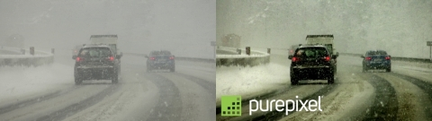 Digital Harmonic's PurePixel enhanced image (right) of vehicles driving in snowfall. (Photo: Business Wire)