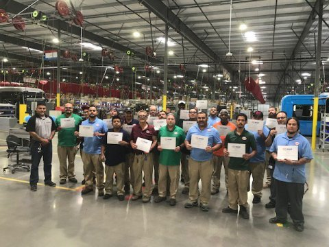 SMART Local 105 members at the Lancaster plant in August 2018, graduates of OSHA 10 health and safety training. (Photo: Business Wire)