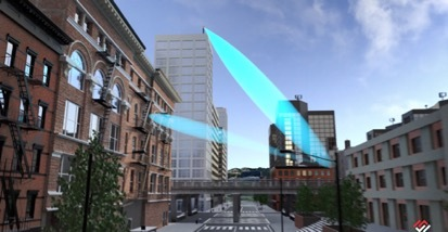 Metawave TURBO™ deployed from radio to direct signal through glass across the street (Photo: Business Wire)