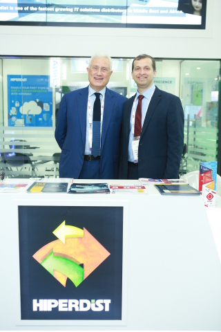 Dr. Antoine Kareh, General Manager, CIS Group and Mr. Santosh Sansare, General Manager, Hiperdist at the Hiperdist stand at GITEX 2019 (Photo : AETOSWire)