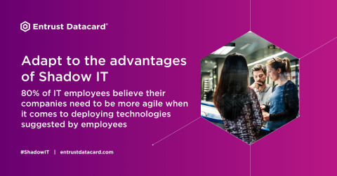 Entrust Datacard's new report, The Upside of Shadow IT: IT Security Meets Productivity, shows organizations how to balance organizational security with employee convenience. https://bit.ly/2qeACxl (Photo: Entrust Datacard)