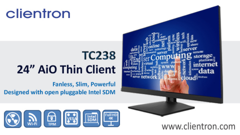 "Clientron AiO Thin Client TC238 features a 23.8"" display with fanless and ultra-slim enclosure, and system designed with the concept of Intel® Smart Display Module (Intel® SDM) for optimized display computing. (Photo: Business Wire)"