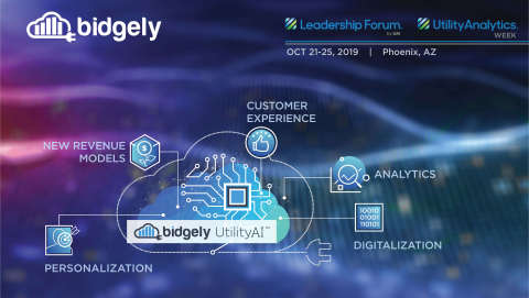 Bidgely CEO and Co-founder Abhay Gupta will deliver a keynote address during Utility Analytics Week 2019; joined by other top Bidgely execs to highlight how artificial intelligence (AI) can help utilities create a personalized energy experience. (Graphic: Business Wire)