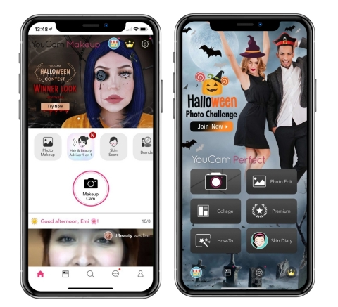 YouCam Apps brings striking AI and AR Halloween Costume Makeup looks and photo effects to life for a seriously spooky interactive experience. (Photo: Business Wire)