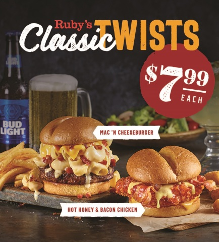 Ruby Tuesday announces two new Classic Twists meals, the Mac 'n Cheeseburger and Hot Honey & Bacon Chicken Sandwich, for $7.99 and available across 460 participating locations for a limited time only, starting Oct. 21. (Photo: Business Wire)