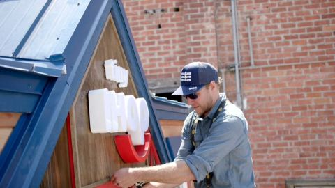 """The Tiny IHOP is the first restaurant project ever constructed by """"Tiny House Nation"""" hosts John Weisbarth and Zack Giffin (pictured), and a first-of-its-kind branded build for A&E Network. Starting October 24, 2019, MyHOP email club members can enter for a chance to win a trip for two to the Tiny IHOP Dinner Series. (Photo: Business Wire)"""