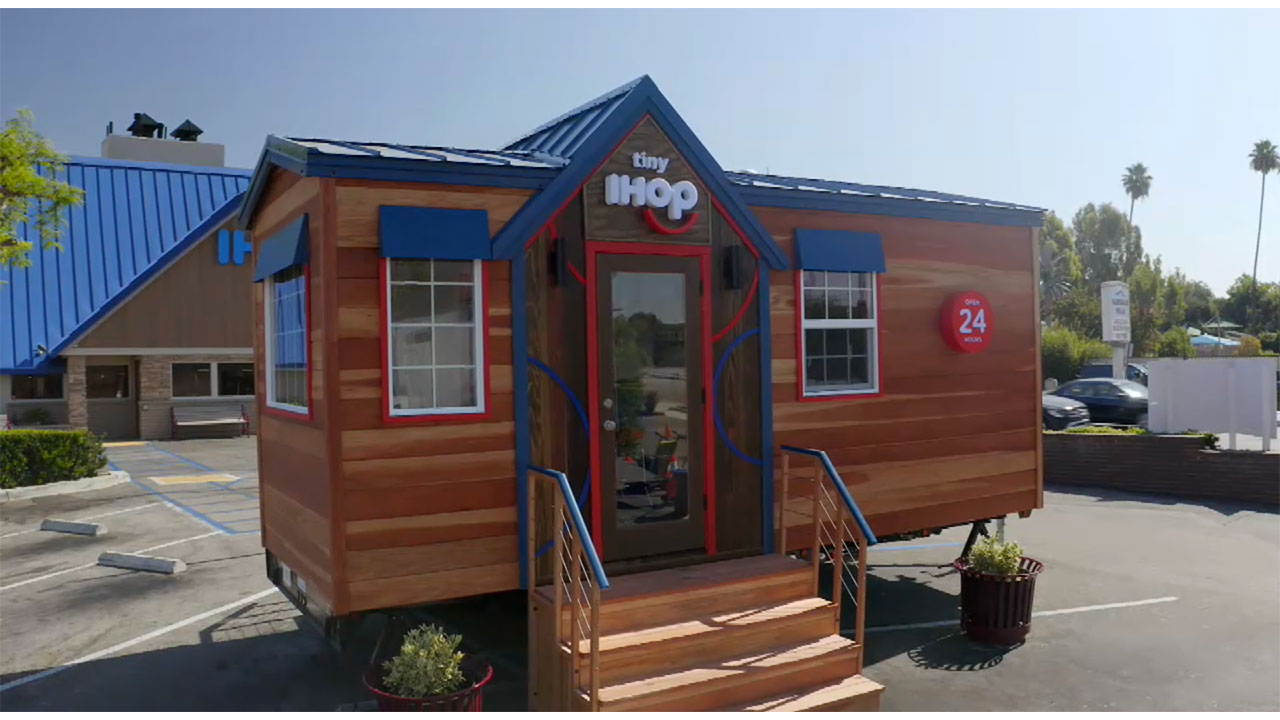 "The Tiny IHOP is the first restaurant project ever constructed by ""Tiny House Nation"" hosts John Weisbarth and Zack Giffin and a first-of-its-kind branded build for A&E Network; watch three 60-second vignettes of the construction of Tiny IHOP, airing on October 19 at 9AM on A&E, and October 17 at 8PM on FYI."