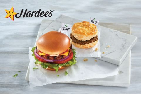 Hardee's New Beyond Breakfast Sausage Biscuit and The Original Beyond Thickburger (Photo: Business Wire)