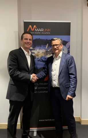Intelsat Executive Vice President and Chief Commercial Officer, Samer Halawi, and Erik Ceuppens, CEO of Marlink Group (Photo: Business Wire)