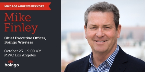 The highly anticipated MWC Los Angeles conference will feature Boingo CEO Mike Finley on the keynote stage. (Graphic: Business Wire)