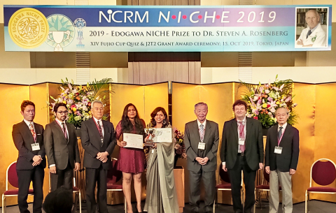 Winners of XIV Fujio Cup Quiz receiving the trophy from Dr. Masahiro Katoh, Chairman Edogawa Hospital (3rd from Rt) with Prof. Jurgen Hescheler (2nd from Rt) and Dr. Shojiro Katoh (2nd from Lt) (Photo: Business Wire)