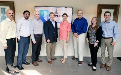 MFG Chemical welcomes SOCMA President & CEO Jennifer Abril (Ctr Right) , with MFG President & Chemical CEO Keith Arnold (Ctr Left), and MFG team (L - R) CFO Darin Gyomory; Daniel Sanchez Sales Acct Mgr; Bob Mauney, Strategic Plng Mgr; Barry Lassiter, VP Operations; Melanie West, Supply Chain Director; Joe Welch, EHS&S Director. (Photo: Business Wire)