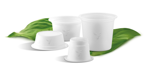 Flo's GEA compostable coffee capsules made with Ingeo™ biomaterials for A Modo Mio, Lavazza Blue, Nespresso, and Keurig systems. (Photo: NatureWorks)