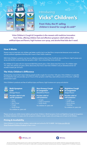 Vicks Children's Cough and Congestion Product Fact Sheet (Graphic: Business Wire)