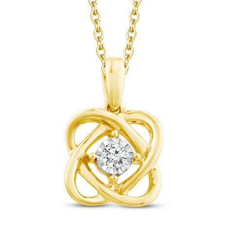 """Center of Me Diamond Necklace 1/20 carat total weight 10K Yellow Gold 18"""" Retail: $399.99 Now in Kay Jewelers stores nationwide and online at KAY.com. (Photo: Business Wire)"""
