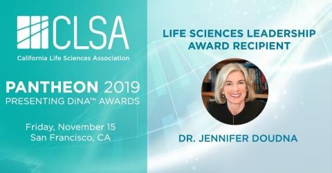 Jennifer Doudna, Ph.D., University of California, Berkeley, to be Named Recipient of California Life Sciences Association's (CLSA) Life Sciences Leadership Award at 2019 Pantheon DiNA Awards (Photo: Business Wire)