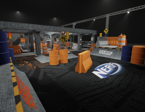 NERF Challenge Urban Playground Arena - Grab a blaster and take your team to victory in this custom themed 4,500 square foot NERF arena (Photo: Business Wire)