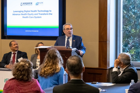 U.S. Representative G.K. Butterfield (NC) talks about the importance of ensuring North Carolinians in underserved communities have access to digital health tools to ensure they can stay healthy – and how the partnership between Morehouse School of Medicine and the United Health Foundation will help make this easier for patients. (Credit Mark West)