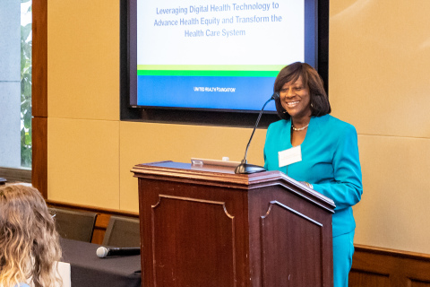 Morehouse School of Medicine's Dr. Sandra Harris-Hooker talks about the importance of expanding access to digital health tools to close the health equity gap for rural and underserved communities during an announcement of a new partnership with the United Health Foundation. (Credit: Mark West)