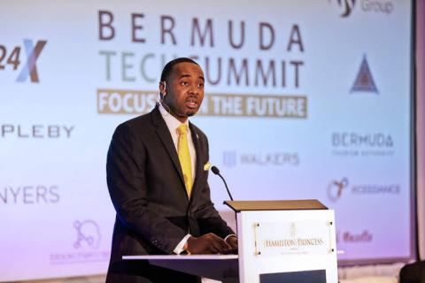 Bermuda Premier David Burt opening the Bermuda Tech Summit (Photo: Business Wire)