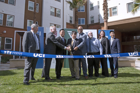 University of California, Irvine and American Campus Communities Celebrate the Opening of Sustainable Student Living Center From left to right: Tim Trevan, Executive Director of Student Housing, James Wilhelm, Executive Vice President of American Campus Communities, Randy Yan, ASUCI President, Dr. Enrique Lavernia, Provost and Executive Vice Chancellor, Dr. Willie L. Banks, Vice Chancellor of Student Affairs, Dennis McCauliff, Regional Vice President of American Campus Communities, Emily Stout, Regional Manager of American Campus Communities at UC Irvine, Brice Kikuchi, Chief Financial Officer of Student Affairs (Photo Credit: Fernando Martinez/UCI)