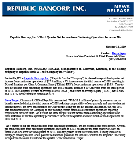Republic Bancorp, Inc.'s Third Quarter Net Income from Continuing Operations Increases 7%