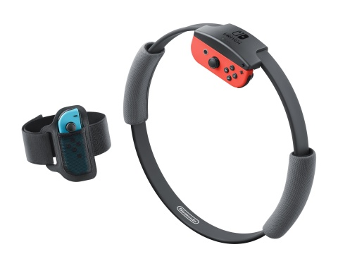 The two new accessories – Ring-Con and Leg Strap – work with the Joy-Con controllers and allow the game to turn your movements and exercise in the real world, like jogging in place, squats and overhead shoulder presses, into actions in the game. (Photo: Business Wire)