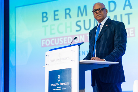 Roland Andy Burrows, CEO of the Bermuda Business Development Agency, speaking at the Bermuda Tech Summit (Photo: Business Wire)