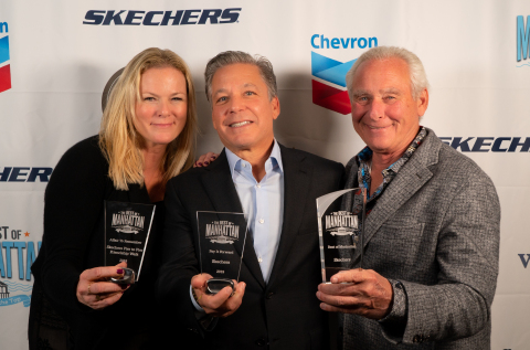 "L to R: Skechers Foundation Executive Director Robin Curren, Skechers President Michael Greenberg and Skechers COO David Weinberg celebrate their ""Best of Manhattan"" awards at Westdrift Manhattan Beach. Credit: Walkthrough Productions"