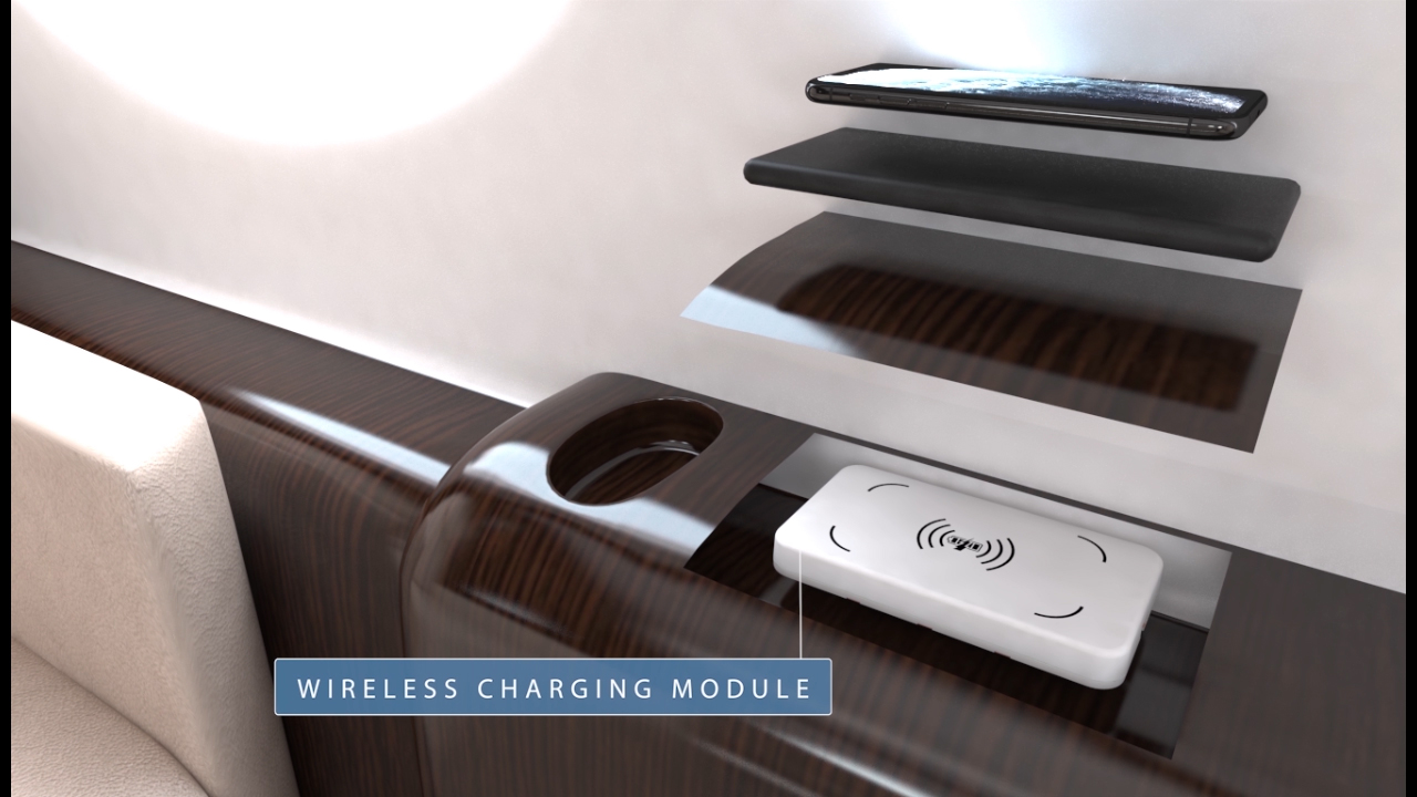 Animated multimedia of how Astronics' wireless charging module can be embedded in business jet furniture to charge mobile devices.