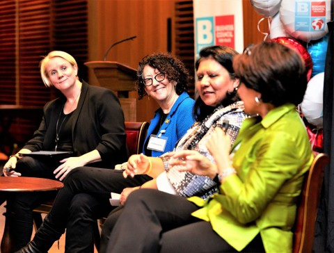 Global panel of women business leaders at the Bpeace London Launch included Julia Streets and Suzanne Biegel and Bpeace Skillanthropists Alpa Pandya and Angela Scalpello at the Leathersellers' Hall London. (Photo: We Shoot London)
