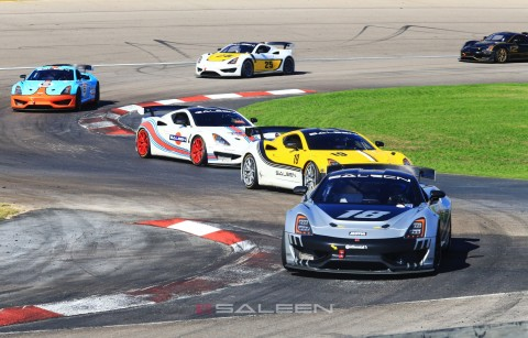 """""""Young Drivers"""" category champion Carter Fartuch of Schnecksville, Pa. leads the field through the chicane at Las Vegas Motor Speedway during the final event of the 2019 Saleen Cup Racing Series. (Photo: Business Wire)"""