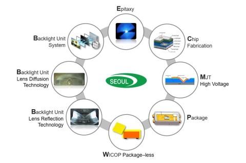 Les 19 technologies brevetées de Seoul Semiconductor, allant de la croissance épitaxiale aux solutions (Graphique : Business Wire)