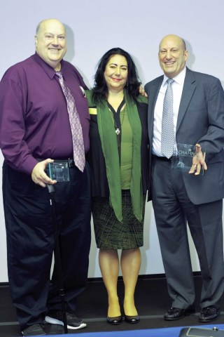 L-R John Wikan, Nancy Santiago (John's sponsor) and Joe Raposa. (Photo: Business Wire)
