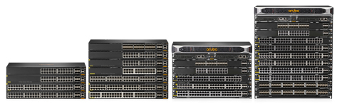Featuring Aruba's 7th Generation ASIC architecture, the Aruba CX 6300 Series is a family of stackable switches that offers flexible growth via a 10-member virtual switching framework (VSF) and provides built-in 10/25/50 gigabit uplinks to meet the bandwidth needs of today and the future, while the Aruba CX 6400 Series modular switches offer both a 5-slot chassis and a 10-slot chassis with a non-blocking fabric that scales from Gigabit POE access to 100G core. (Photo: Business Wire)