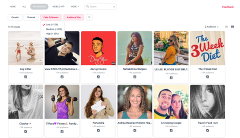 Users can filter their search by data points like engagement rate, whether a partner is Instagram Verified or percentage of fake followers, etc. (Photo: Business Wire)