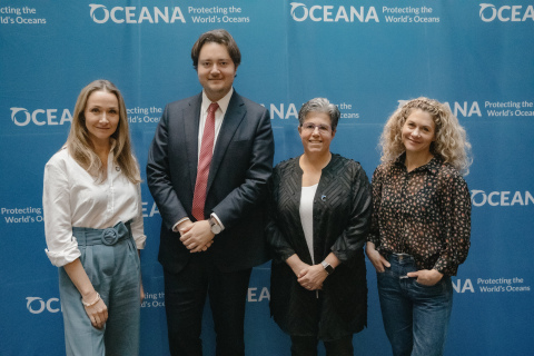 Oceana hosts media workshop at Our Ocean conference in Oslo, Norway. From left to right: Alexandra Cousteau, explorer, ocean advocate and senior advisor to Oceana; Jens Frølich Holte, State Secretary of Norway's Ministry of Foreign Affairs; Jacqueline Savitz, chief policy officer at Oceana; Cecilie Skog, adventurer and Oceana supporter (Photo: Oceana/Ilja C. Hendel)