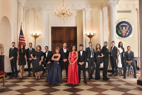"""The Cast of """"Tyler Perry's The Oval,"""" (from L-R) Matthew Law, Teesha Renee, Vaughn Hebron, Ptosha Storey, Javon Johnson, Paige Hurd, Ed Quinn, Kron Moore, Daniel Croix Henderson, Lodric Collins, Ciera Payton, Travis Cure, Brad Benedict, Taja V. Simpson, and Walter Fauntleroy. """"Tyler Perry's The Oval"""" airs Wednesdays at 9 PM ET/PT on BET. (Photo: Business Wire)"""