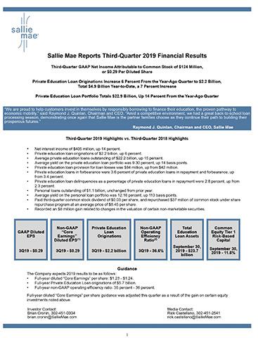 Sallie Mae Earnings Release Supplement
