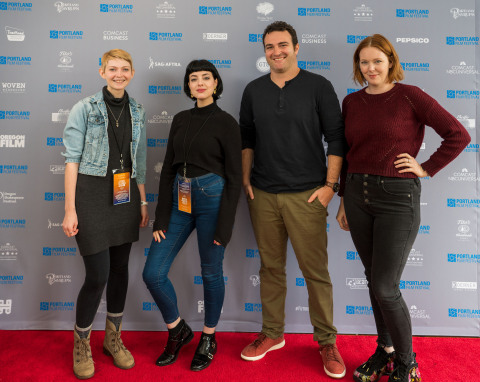 (L to R): Moderator Krista Hershberger was joined by Lola Blanc (In Other Words), Matt Ratner (Standing Up, Falling Down), and Erin Rye (Lady Parts) for a director's panel discussion at the Portland Film Festival. Each screened directorial work at the 2019 Festival in Downtown Portland. (Photo: Business Wire)