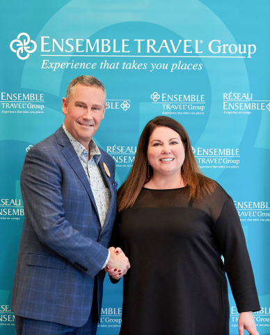Cool Effect Director of Marketing Jodi Manning and Ensemble Travel Group CEO David Harris pose for photos at a Press Conference following the announcement that the organizations have partnered to offset the carbon footprint of Ensemble's 2019 International Conference and offer travel offsetting to its members moving forward. (Photo: Business Wire)