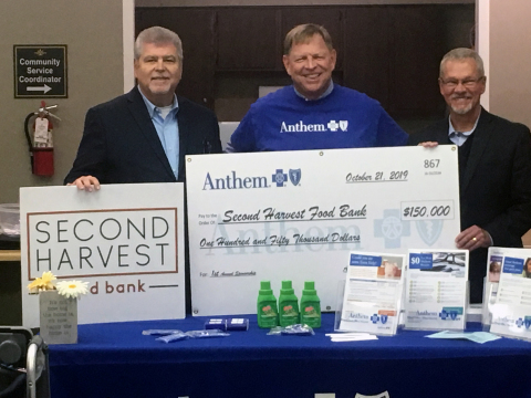 Leaders from Second Harvest and Anthem Blue Cross and Blue Shield announce a collaboration that will provide food for better health of Hoosiers. (Photo: Business Wire)