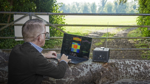 RFeye SenS portable RF recorder in use outside (Photo: Business Wire)
