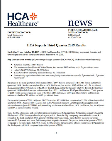 Printer Friendly Version - HCA Reports 3Q Earnings