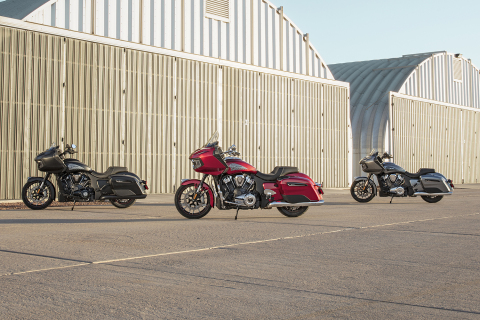Indian Motorcycle, America's First Motorcycle Company, has dramatically redefined the American bagger with its introduction of the 2020 Indian Challenger. From left to right: Indian Challenger Dark Horse, Indian Challenger Limited, Indian Challenger (Photo: Business Wire)