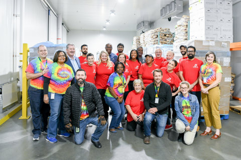 Dash In, Tyson Foods, and Food Bank of Delaware teams unloaded the food donation at the food bank on October 28. Photo credit: Ana Isabel Martinez Chamorro