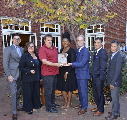 KARL STORZ Imaging received the Employer/Accommodations award for exhibiting the spirit of the Americans with Disabilities Act. From left to right: Rick Spitzer (KARL STORZ Imaging), Cathy Murillo (Santa Barbara Mayor), Mark Parker (KARL STORZ Imaging), Patience NCube (PathPoint), Miles Hartfeld (KARL STORZ Imaging), Das Williams (Santa Barbara County Supervisor), and Tom Cruz (KARL STORZ Imaging). Photo credit: Photos by Priscilla.
